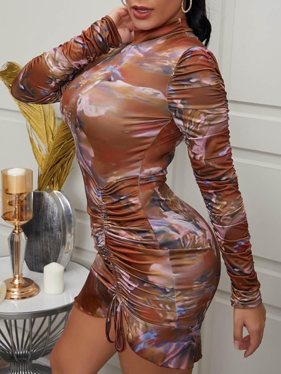 LW Lovely Casual Print Fold Design Brown Mini Dress