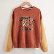 Plus Letter Graphic Colorblock Sweatshirt