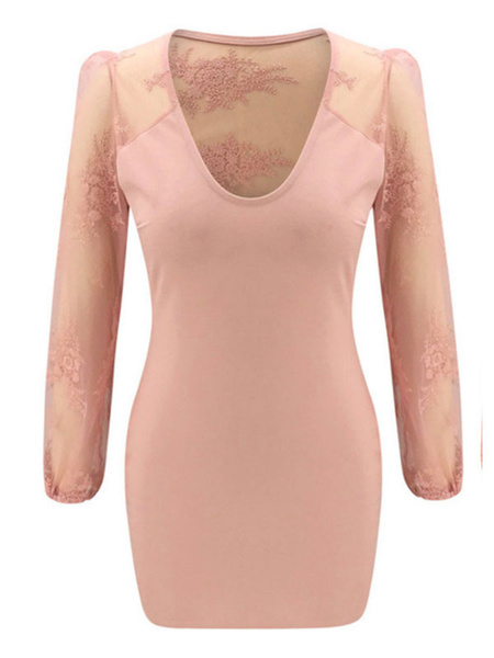 Milanoo Summer Dresses Soft Pink V Neck Lace Chiffon Sundress