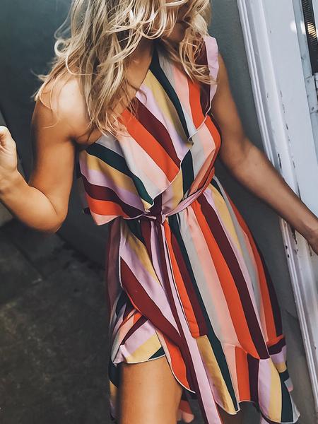 Yoins Orange Wrap Belt Design Striped Ruffle Trim One Shoulder Sleeveless Dress