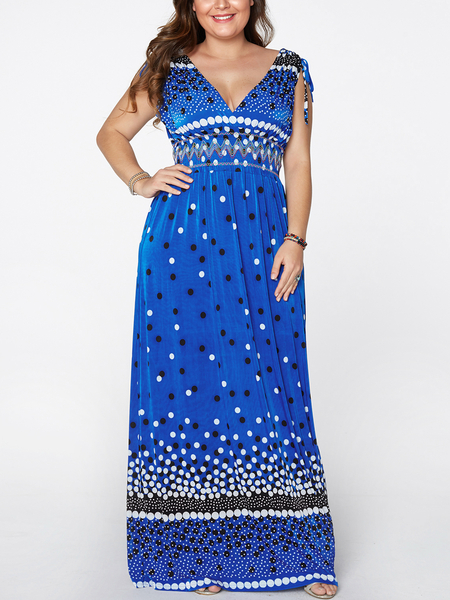 Yoins Plus Size Polka Dot Backless V-neck Sleeveless Maxi Dress