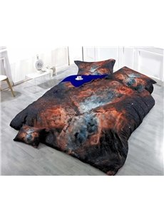 Colorful Cloud Cluster Wear-resistant Breathable High Quality 60s Cotton 4-Piece 3D Bedding Sets
