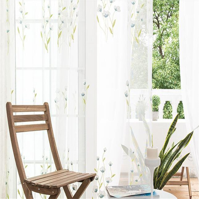 Pastoral Style White Color with Blue Flowers 2 Panels Custom Sheer Curtain for Living Room