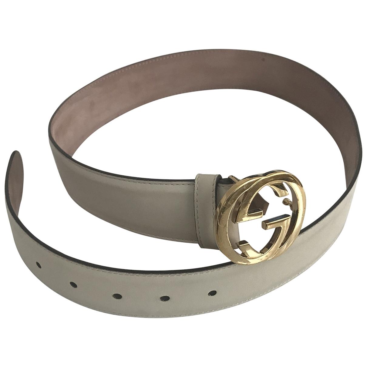 Gucci Interlocking Buckle White Leather belt for Women 85 cm