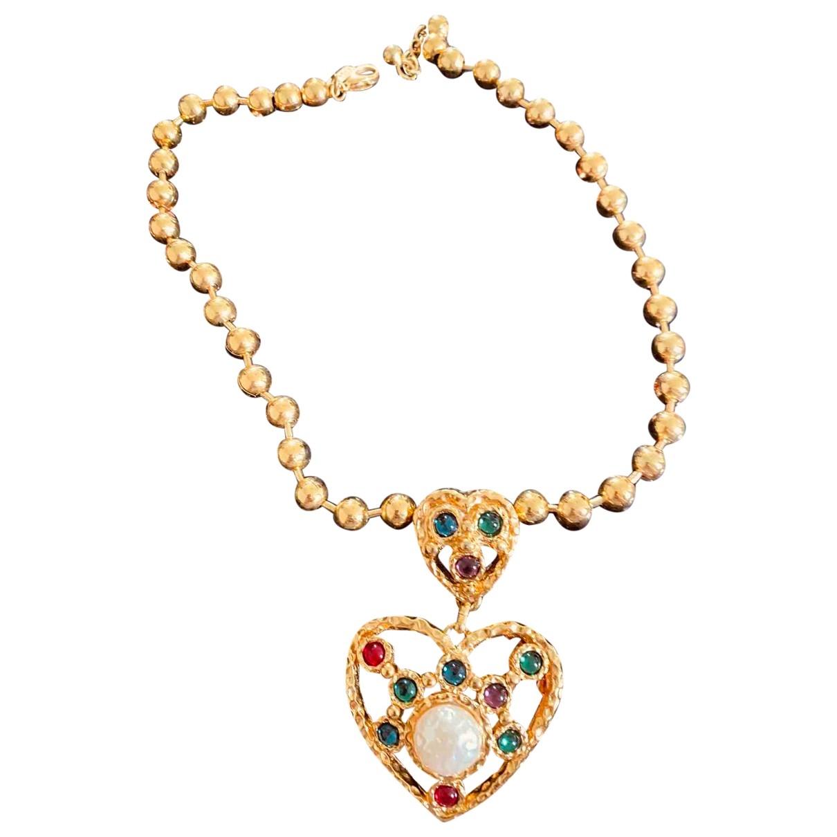- Collier Motifs Coeurs pour femme en metal - jaune