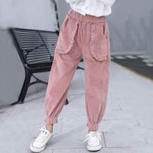 Cord Hose mit elastischer Taille und Rueschen