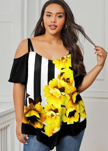 Stripe and Floral Print Plus Size T Shirt - 2X