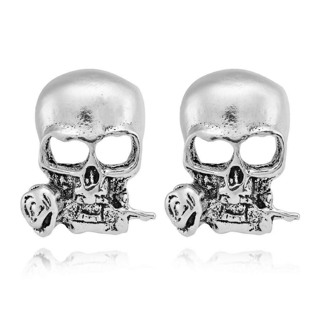 Handmade Mustang Hallow Skull with Roses Sterling Silver Stud Earrings (Thailand) (White)