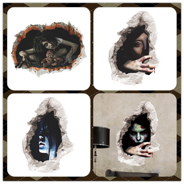Halloween 3D Sticker Bedroom Living Room Haunted House Decor Wall Stickers Ghost Through The wall