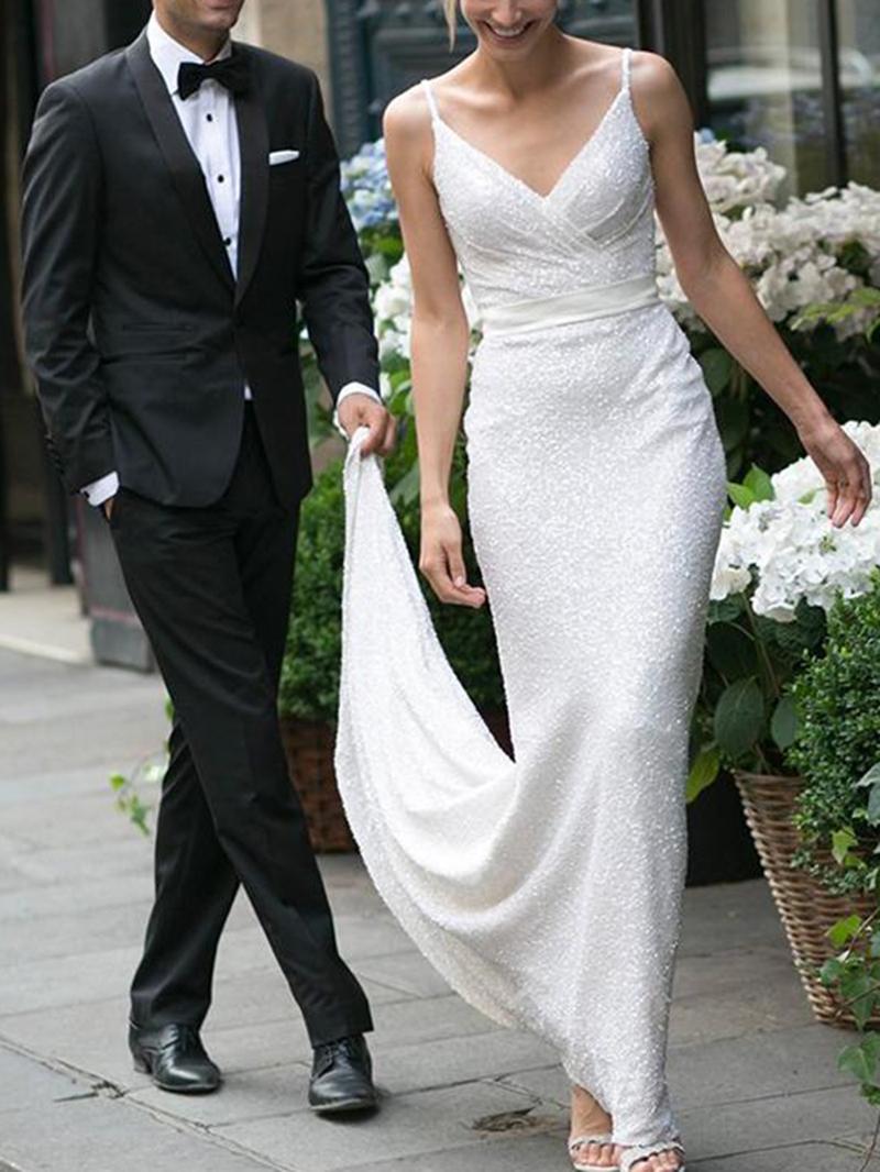 Ericdress Sheath/Column Sequins Sweep/Brush Sleeveless Garden/Outdoor Wedding Dress 2020