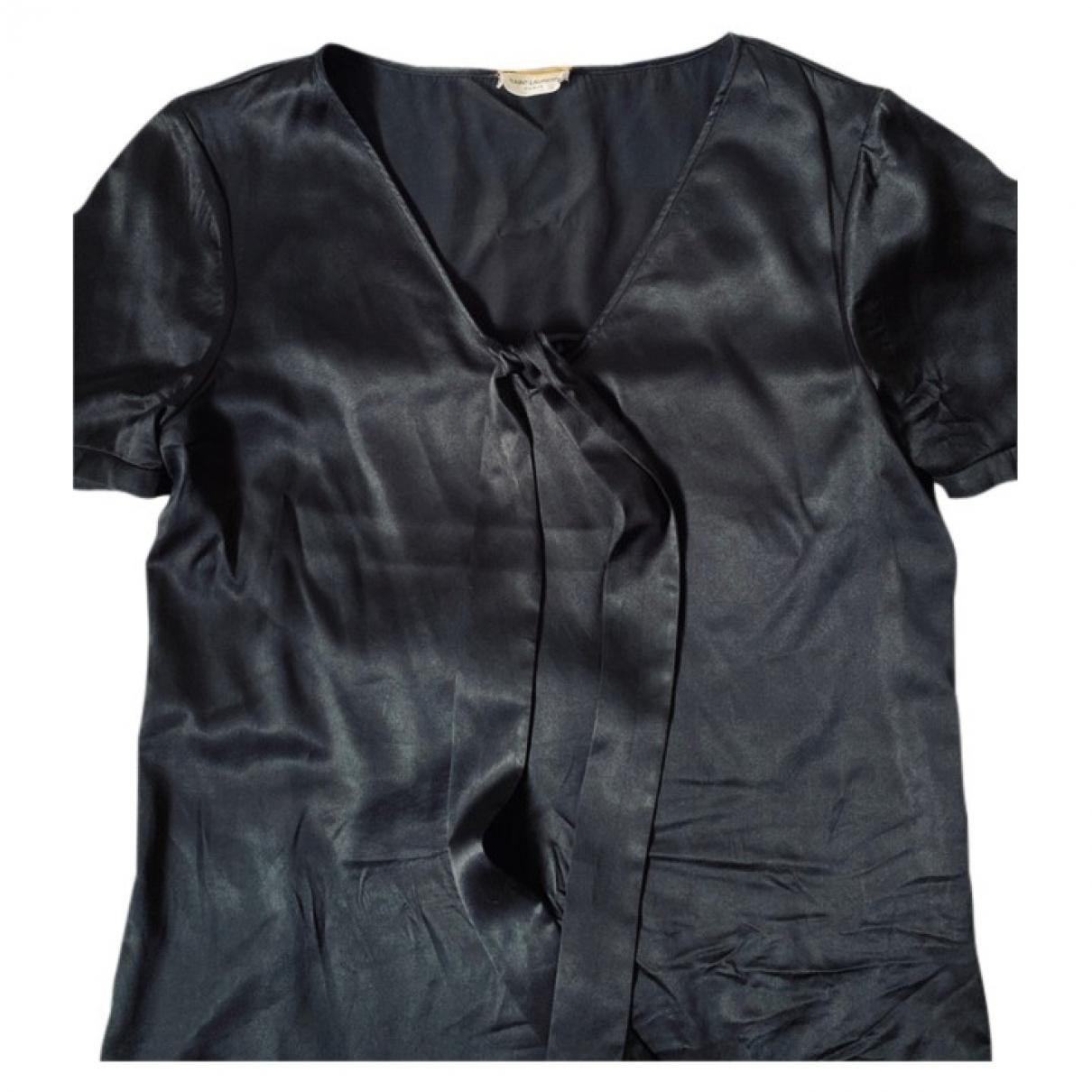 Saint Laurent - Top   pour femme en soie - noir
