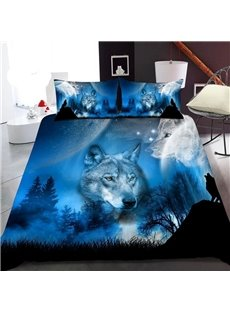 The Wolf In The Blue Moonlight 3D Printed Polyester 1-Piece Warm Quilt