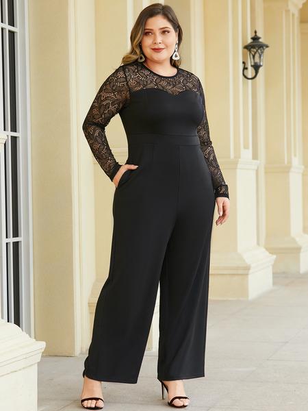 YOINS Plus Size Black Patch Lace Jumpsuit