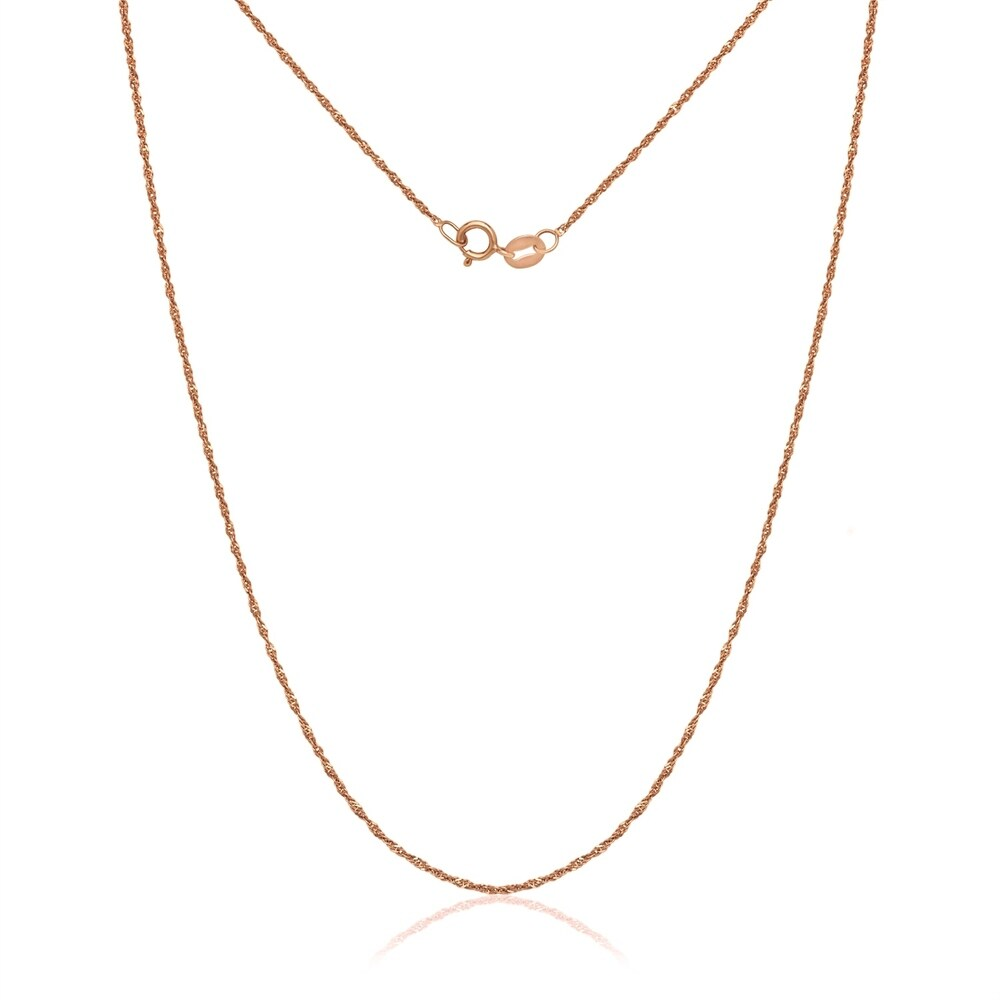 14k Rose Gold Pink Singapore Chain Necklace (16 Inch)