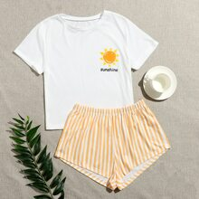 Letter Graphic Tee & Striped Shorts PJ Set