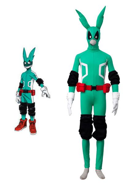Milanoo Halloween Disfraz Carnaval Disfraz de color verde con 7 piezas de Boku No Hero Academia Izuku Midoriya Cos BNHA de Anime japones cosplay 2020