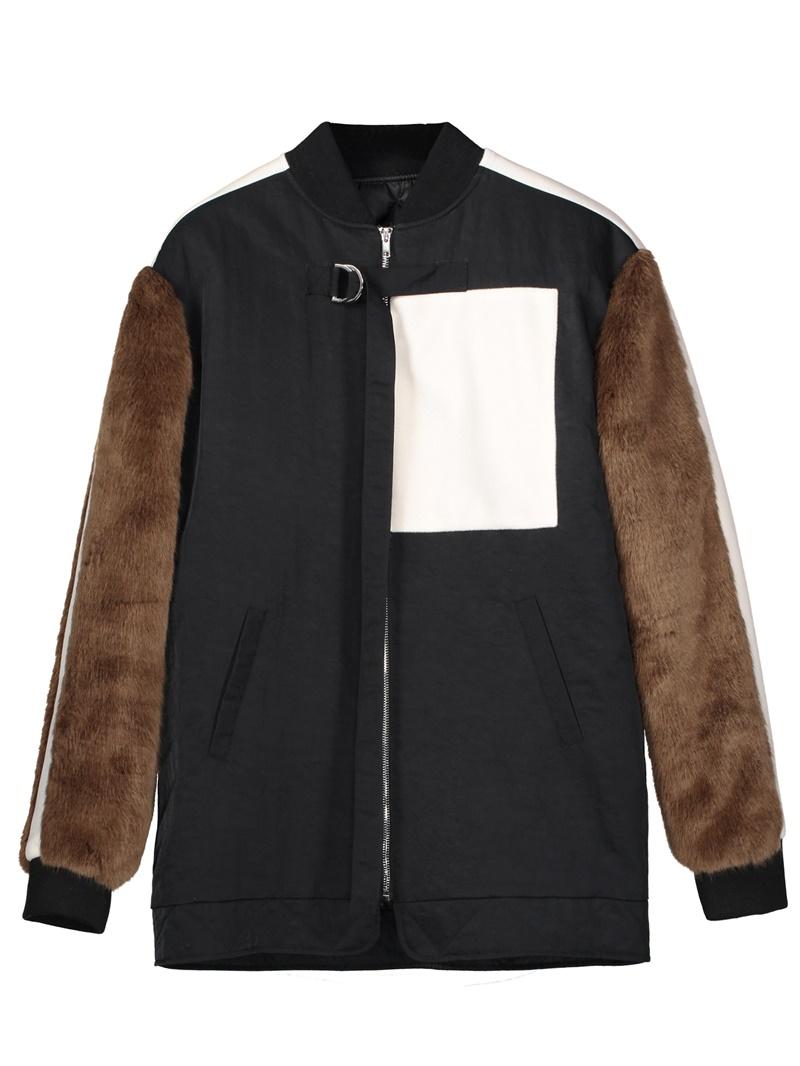 Ericdress Color Block Stand Collar Women's Jacket