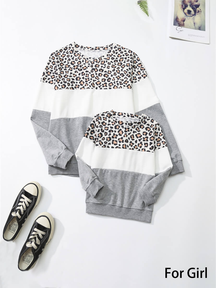 LW Lovely Family O Neck Leopard Print Patchwork Girl Hoodie
