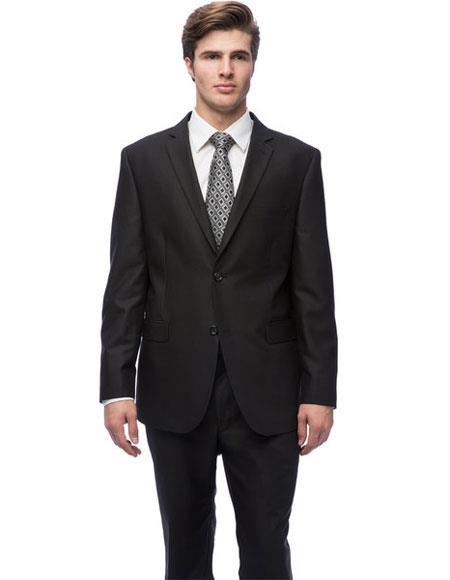 Mens Double Vent Black Notch Collar Tic Pattern Slim Fit 2 Button Suit