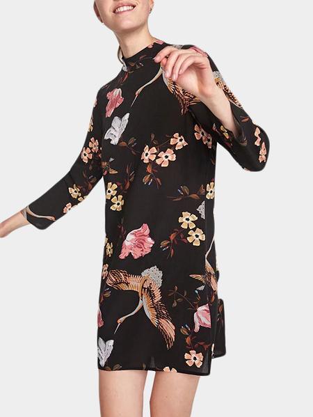 Yoins Black Random Floral Print Stand Collar Wrap Dress