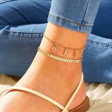 Rhinestone Charm Chain Anklet 2pcs