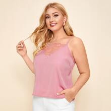 Plus Solid Lace Yoke Cami Top