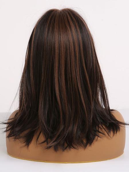 Milanoo Pelucas de pelo sintetico pelucas mujeres heterosexuales Con Blunt Bangs