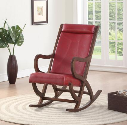 BM193887 Faux Leather Upholstered Wooden Rocking Chair with Looped Arms  Brown and