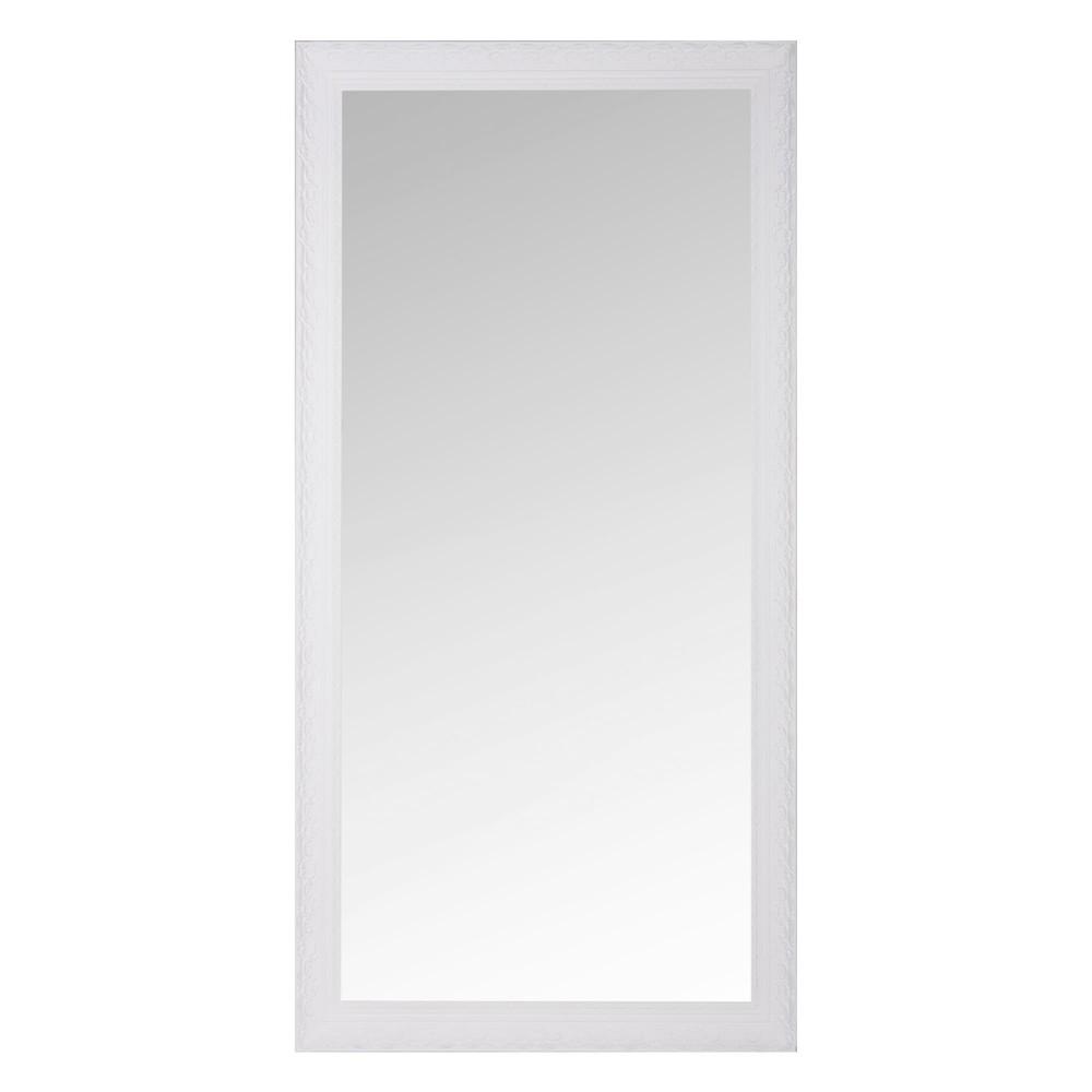 Spiegel mit Rahmen aus weissem Paulownienholz 90x180