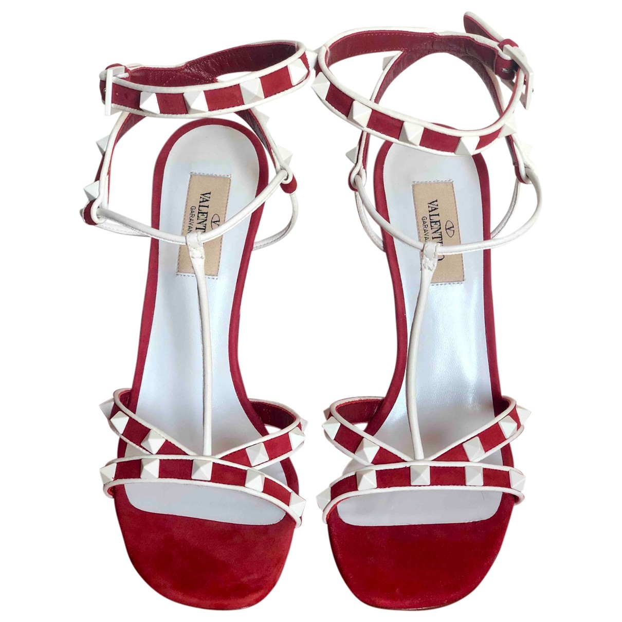 Valentino Garavani Rockstud Red Suede Sandals for Women 38 EU