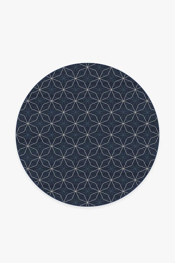 Washable Rug Cover & Pad | Geometrix Navy Rug | Stain-Resistant | Ruggable | 6' Round
