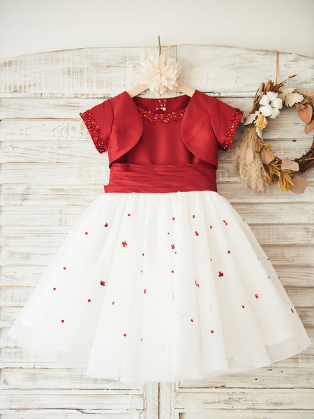 Milanoo Vestidos de niña de las flores Cuello de joya Tul Mangas cortas Hasta la rodilla Princesa Silueta Arcos Vestidos formales para niños