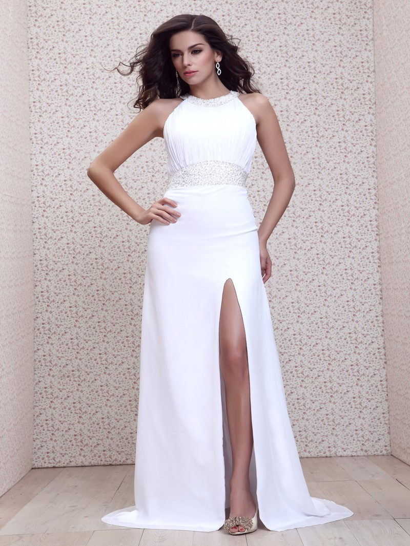 Attractive Beading Split Front A-Line Floor-Length Talines Evening/Prom Dress