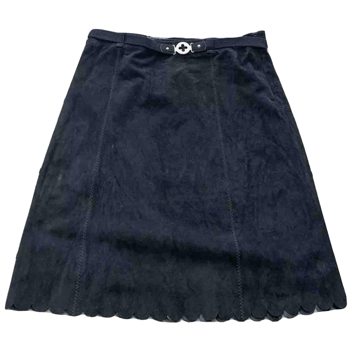 Louis Vuitton - Jupe   pour femme en suede - noir