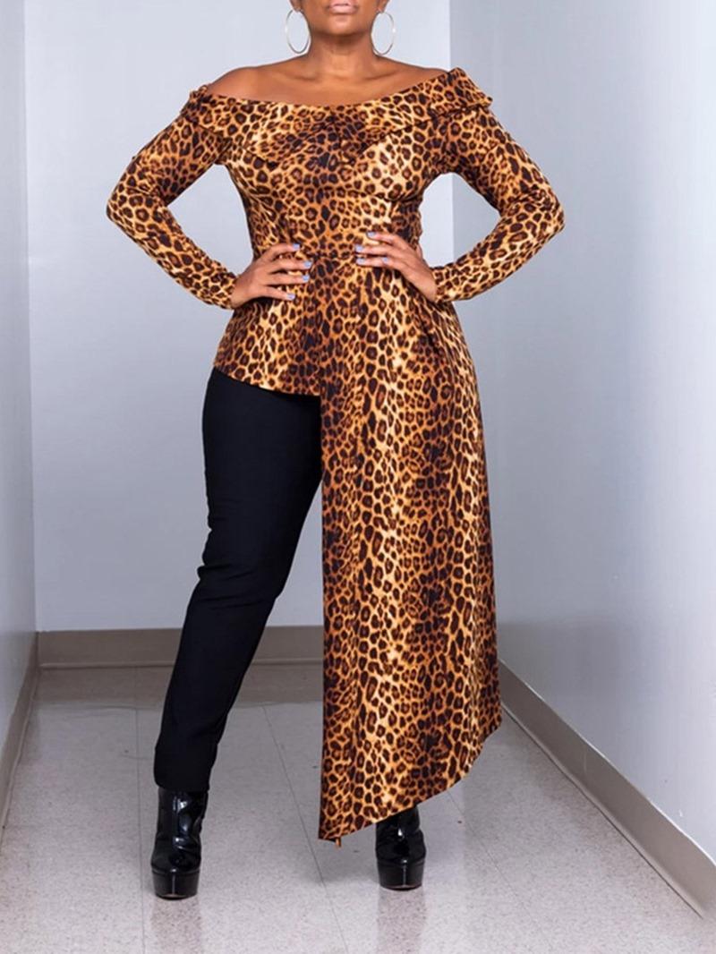 Ericdress Leopard Print Off Shoulder Long Sleeve Long Blouse