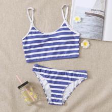 Striped Low Rise Bikini Swimsuit