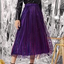 Pleated Mesh Midi Skirt