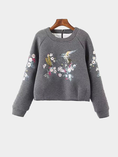 Yoins Casual Pullover Embroidery Pattern Zipper Back Sweatshirt