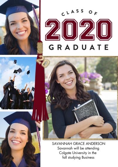 2020 Graduation Announcements 5x7 Cards, Premium Cardstock 120lb with Elegant Corners, Card & Stationery -2020 Graduate Tassel by Tumbalina