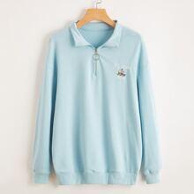 Letter Embroidery Half Zip Sweatshirt
