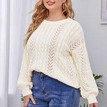 Plus Cable Knit Drop Shoulder Sweater