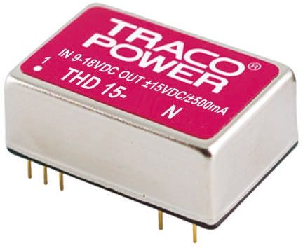 TRACOPOWER THD 15N 15W Isolated DC-DC Converter Through Hole, Voltage in 18 → 36 V dc, Voltage out ±15V dc