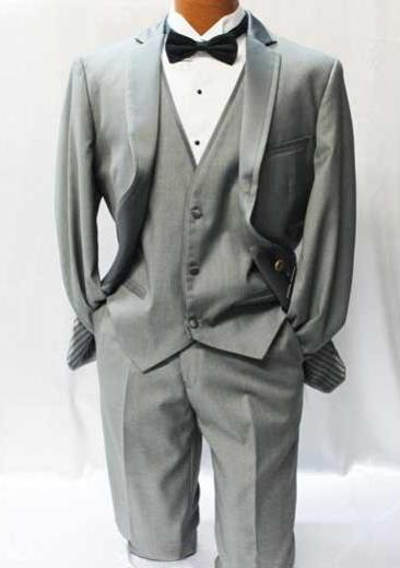 Giorgio Fiorelli Gray Vested Tuxedo Suit Mens Suits Vested 3 Piece