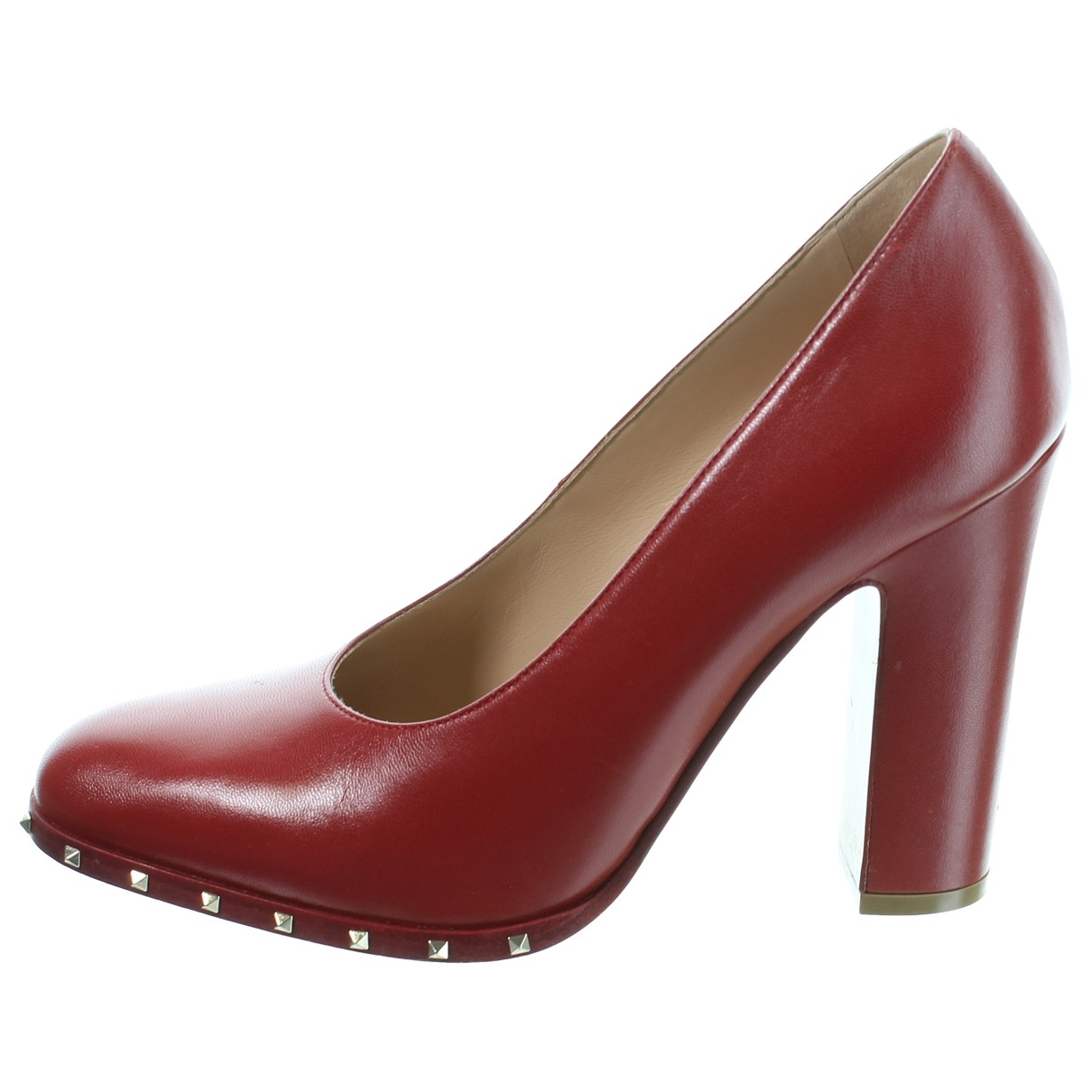Valentino Garavani Rockstud Red Leather Heels for Women 37.5 EU
