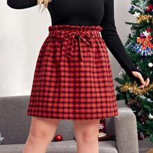 Plus Paperbag Waist Plaid Self Tie Skirt