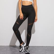 Mesh Insert High Waist Skinny Leggings