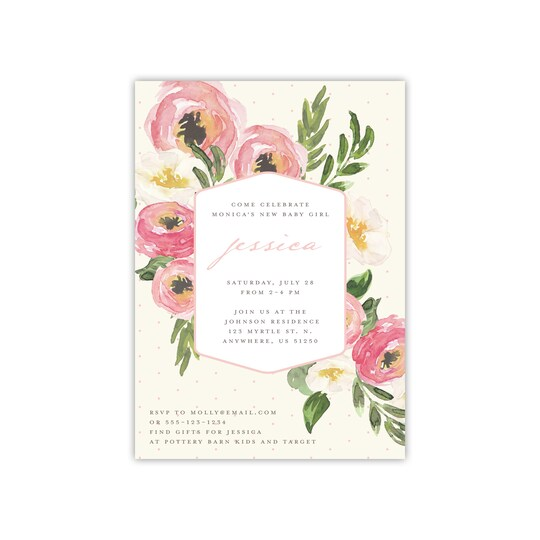 20 Pack of Gartner Studios® Personalized Painted Floral Flat Baby Shower Invite in Blush | 5