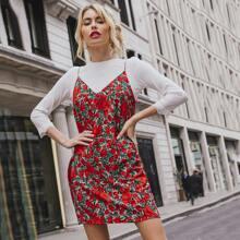 Double V-neck Floral Print Slip Dress