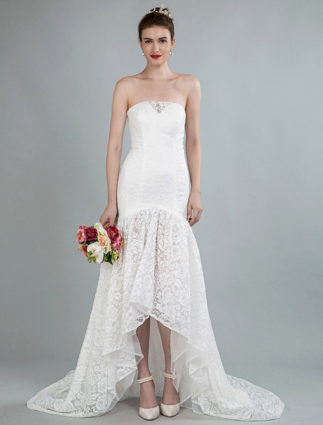 Milanoo Vestidos de novia sencillos de silueta sirena sin mangas Vestidos de novia Marfil con escote palabra de honor cintura natural de encaje de