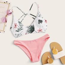 Random Tropical Criss Cross Low Rise Bikini Swimsuit